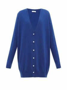 Ryan Roche - Faux-pearl Buttoned Oversized Cashmere Cardigan - Womens - Blue