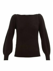 Ryan Roche - Boat-neck Balloon-sleeve Cashmere Sweater - Womens - Black