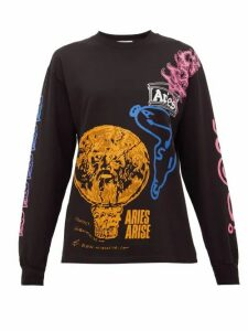 Aries - French Monster Cotton Long-sleeved T-shirt - Womens - Black Multi