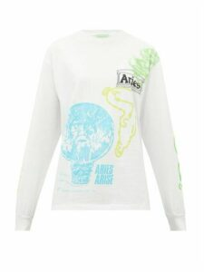 Aries - French Monster Logo-print Cotton T-shirt - Womens - White Multi