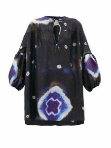 By Walid - Abigail Tie-dye Raw-silk Tunic Top - Womens - Navy Multi