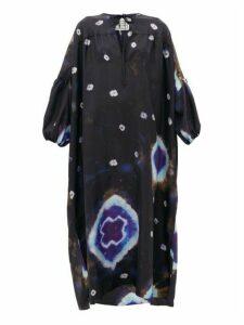 By Walid - Rosie Tie-dye Silk Smock Dress - Womens - Black Multi