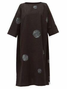 Eskandar - Scattered Disc Shibori-dyed Cotton Tunic Dress - Womens - Black