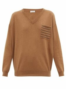 Brunello Cucinelli - Embellished-pocket V-neck Cashmere Sweater - Womens - Brown