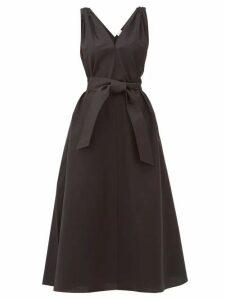 Brunello Cucinelli - Shoulder-embellished Belted Poplin Dress - Womens - Black