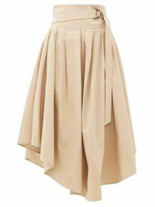 Brunello Cucinelli - Belted Cotton-poplin Midi Skirt - Womens - Beige