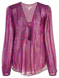 Veronica Beard floral-print silk blouse - PURPLE