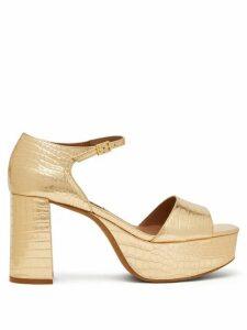 Tabitha Simmons - Patton Crocodile-effect Leather Platform Sandals - Womens - Gold