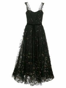 Marchesa Notte flocked glitter tulle midi dress - Black