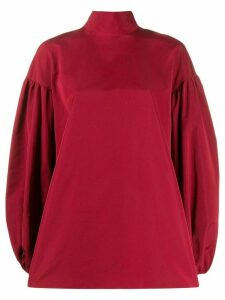 Valentino balloon sleeve bow-embellished top - Red
