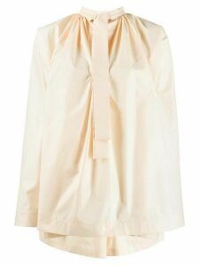 Jil Sander pussy-bow flared blouse - Yellow