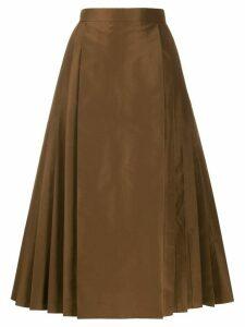Fendi pleated A-line midi skirt - Brown
