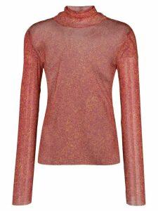 Callipygian printed mesh turtleneck jumper - Red