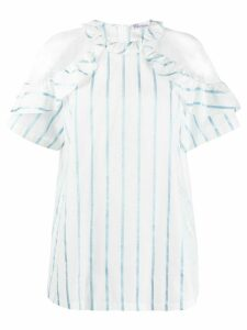 RedValentino point d'Esprit striped blouse - White