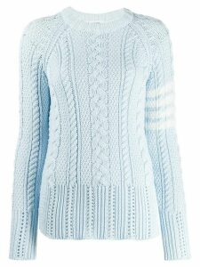 Thom Browne 4-Bar Aran Knit Jumper - Blue