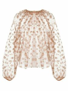 Rachel Comey sheer gathered neck blouse - ORANGE