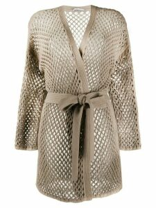 Agnona lattice cardigan - NEUTRALS
