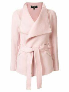 Paule Ka hip length belted jacket - PINK