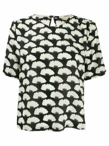 Odeeh all-over print silk blouse - Black