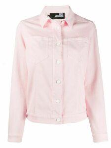 Love Moschino heart embroidered denim jacket - PINK