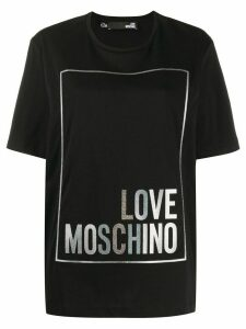 Love Moschino metallic logo print boxy T-shirt - Black
