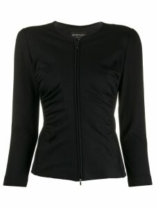 Emporio Armani ruched stretch fit jacket - Black