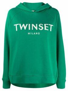 Twin-Set logo print hoodie - Green