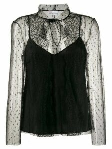 RedValentino point d'esprit sleeves tulle blouse - Black