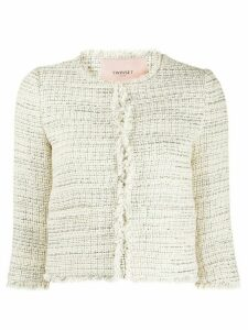 Twin-Set cropped tweed jacket - NEUTRALS