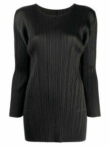 Pleats Please Issey Miyake pleated long-sleeve top - Black