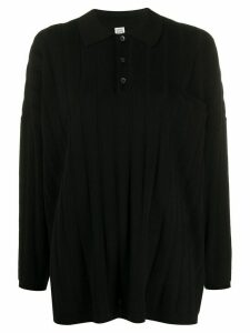 Totême relaxed fit long sleeve polo top - Black