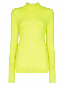 Les Rêveries turtleneck ribbed cashmere top - Yellow