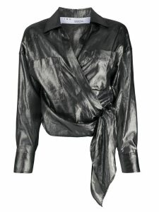 IRO Anatye metallized wrap shirt - Black