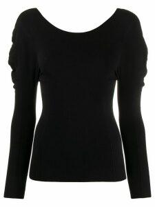 Pleats Please Issey Miyake textured-shoulder pleated top - Black