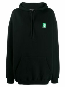 Balenciaga Green Logo hooded sweatshirt - Black