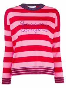 Giada Benincasa striped 'pensami sempre' jumper - Red