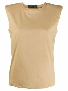 Federica Tosi padded shoulder round neck top - Brown