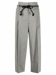 Odeeh paperbag cropped trousers - Grey