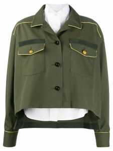 Sacai piped seam shirt jacket - Green