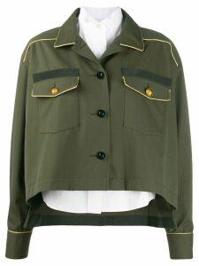 Sacai piped seam shirt jacket - Green
