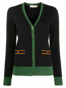 Tory Burch contrast trim cardigan - Blue