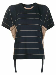 Eudon Choi striped panel T-shirt - Blue