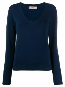 Twin-Set V-neck fitted jumper - Blue