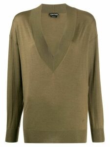 Tom Ford deep v-neck jumper - Green