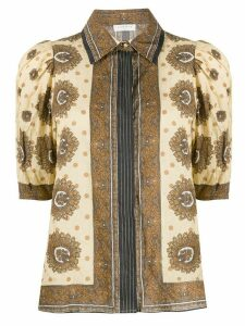 Sandro Paris printed puff sleeve blouse - NEUTRALS