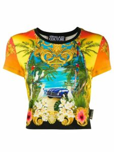 Versace Jeans Couture mixed-print cropped T-shirt - Yellow