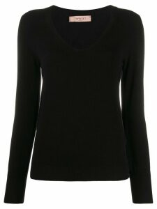 Twin-Set fitted V-neck pullover - Black