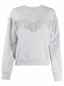 Chiara Ferragni embellished-fringe sweatshirt - Grey