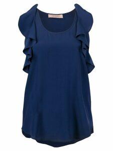 Twin-Set ruffled sleeveless blouse - Blue