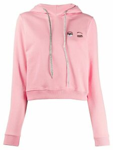 Chiara Ferragni winking eye fitted hoodie - PINK
